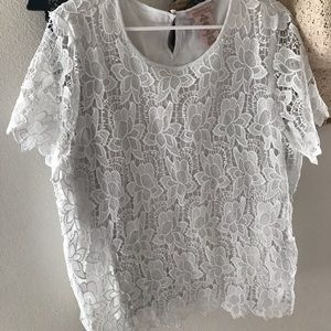 Tops - White lace boat neck blouse!